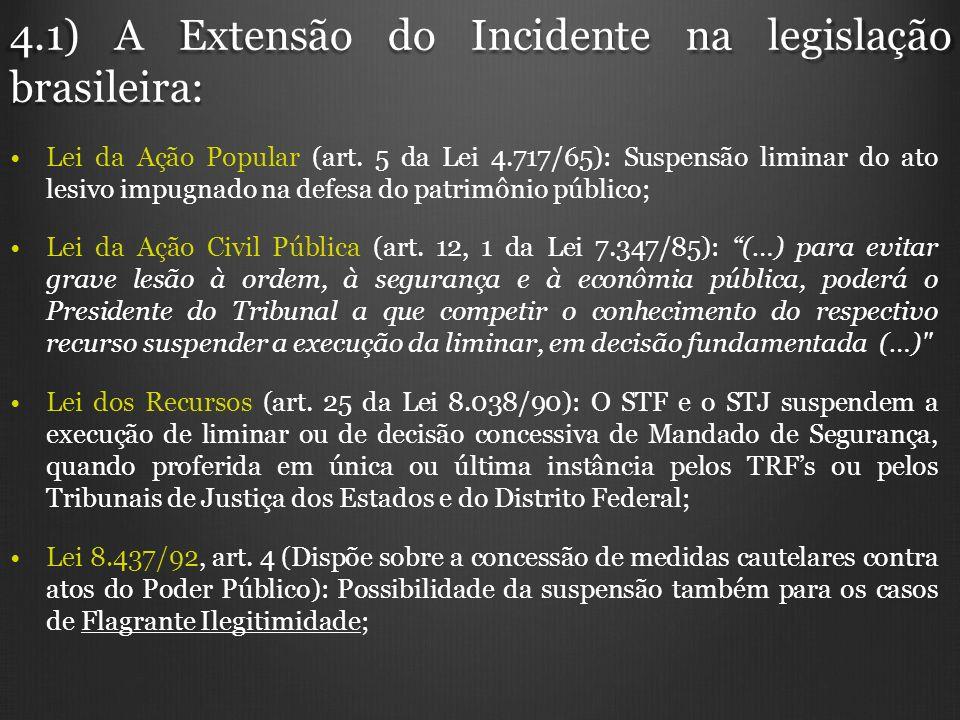4.1) A Extensão do Incidente na legislação brasileira: Lei da Ação Popular (art. 5 da Lei 4.717/65): Suspensão liminar do ato lesivo impugnado na defe