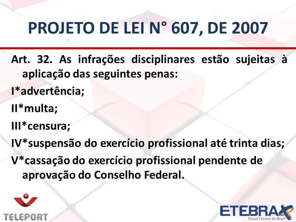 PROJETO DE LEI N° 607, DE 2007 Art. 32. As infrações disciplinares estão sujeitas à aplicação das seguintes penas: I*advertência; II*multa; III*censur