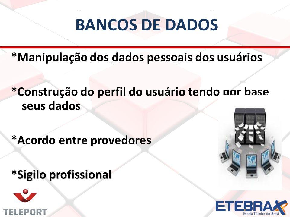 BANCOS DE DADOS *Manipulação dos dados pessoais dos usuários *Construção do perfil do usuário tendo por base seus dados *Acordo entre provedores *Sigi