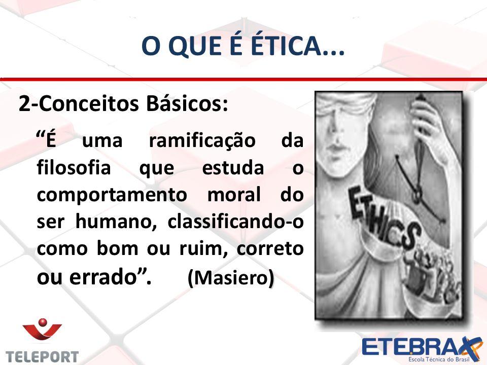 O QUE É ÉTICA... 2-Conceitos Básicos: ) É uma ramificação da filosofia que estuda o comportamento moral do ser humano, classificando-o como bom ou rui