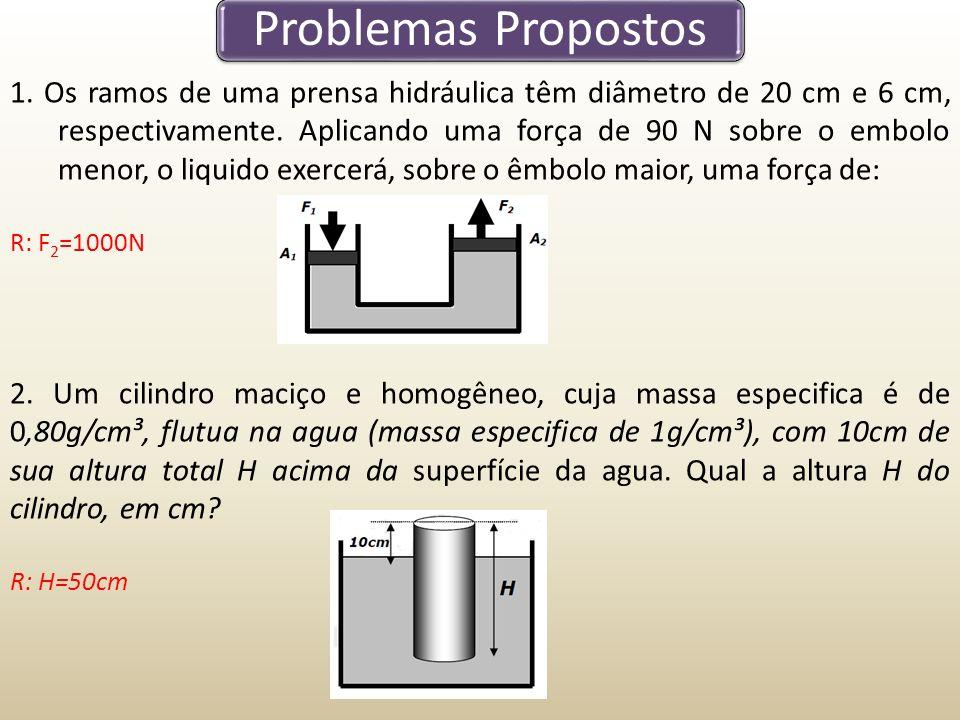 Problemas Propostos 1. Os ramos de uma prensa hidráulica têm diâmetro de 20 cm e 6 cm, respectivamente. Aplicando uma força de 90 N sobre o embolo men