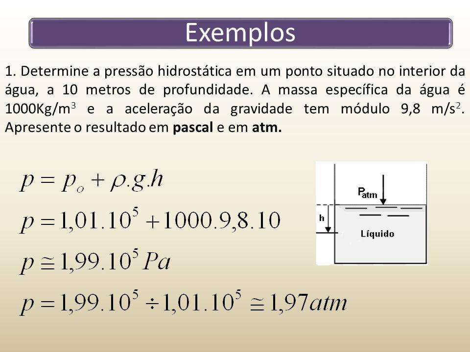 Exemplos 1. Determine a pressão hidrostática em um ponto situado no interior da água, a 10 metros de profundidade. A massa específica da água é 1000Kg