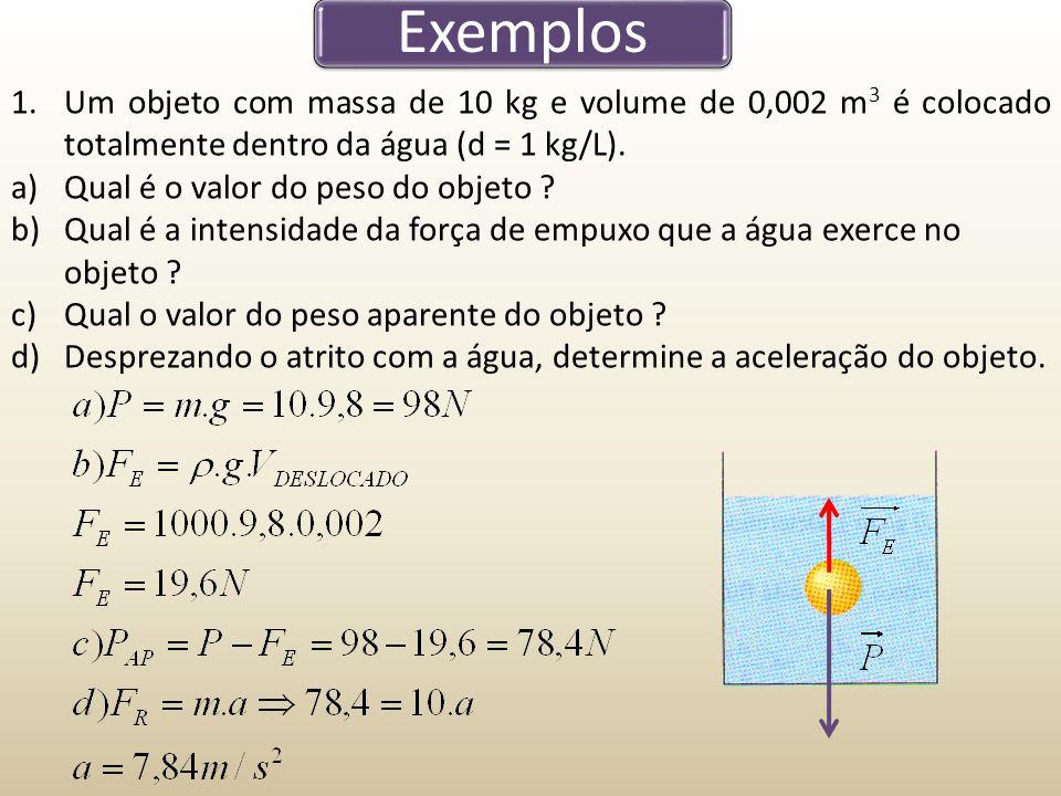 Exemplos 1.Um objeto com massa de 10 kg e volume de 0,002 m 3 é colocado totalmente dentro da água (d = 1 kg/L). a)Qual é o valor do peso do objeto ?