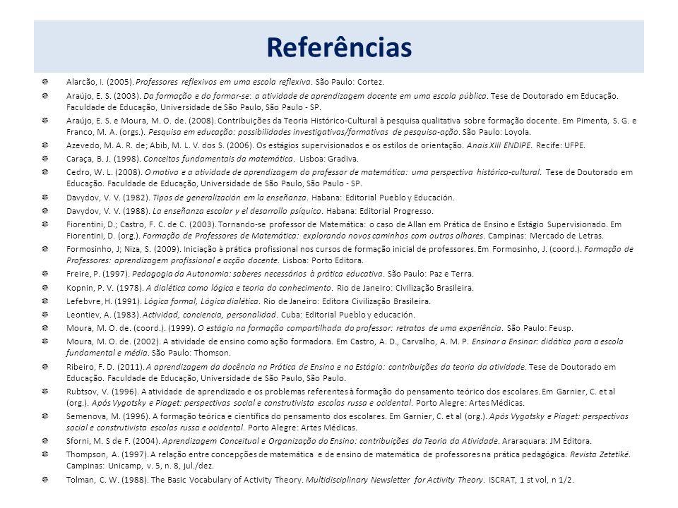 Referências Alarcão, I. (2005). Professores reflexivos em uma escola reflexiva. São Paulo: Cortez. Araújo, E. S. (2003). Da formação e do formar-se: a