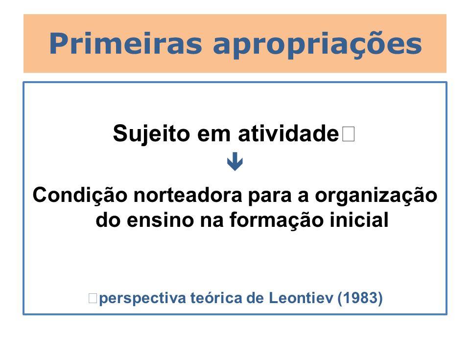 Primeiras apropriações Sujeito em atividade Condição norteadora para a organização do ensino na formação inicial perspectiva teórica de Leontiev (1983