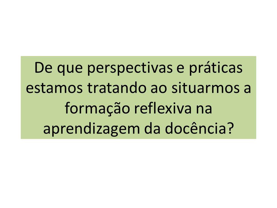 De que perspectivas e práticas estamos tratando ao situarmos a formação reflexiva na aprendizagem da docência?