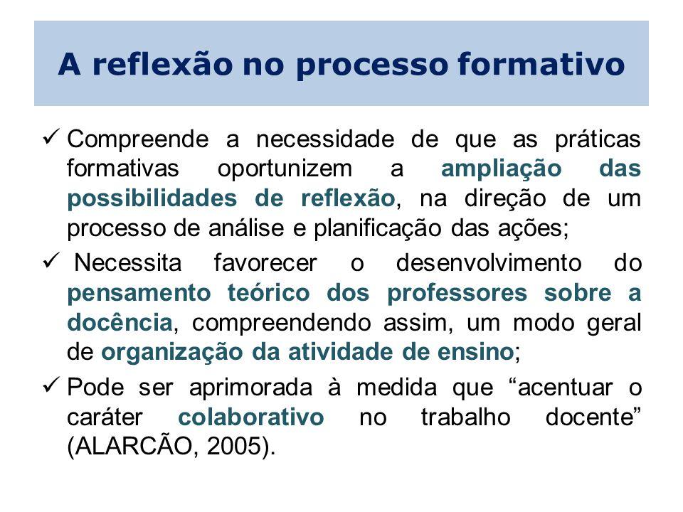 A reflexão no processo formativo Compreende a necessidade de que as práticas formativas oportunizem a ampliação das possibilidades de reflexão, na dir