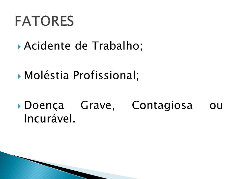 Acidente de Trabalho; Moléstia Profissional; Doença Grave, Contagiosa ou Incurável.