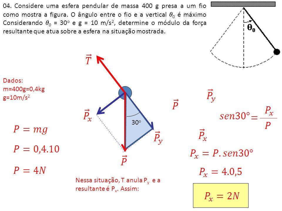 04. Considere uma esfera pendular de massa 400 g presa a um fio como mostra a figura. O ângulo entre o fio e a vertical 0 é máximo Considerando 0 = 30