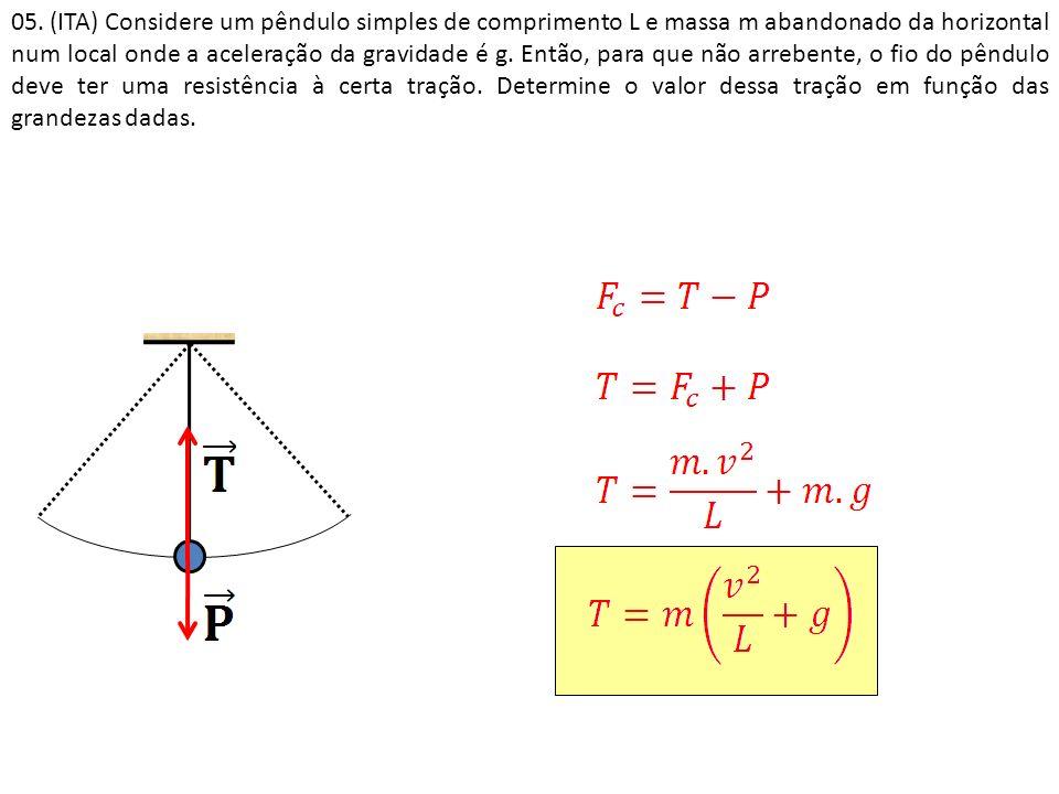 05. (ITA) Considere um pêndulo simples de comprimento L e massa m abandonado da horizontal num local onde a aceleração da gravidade é g. Então, para q