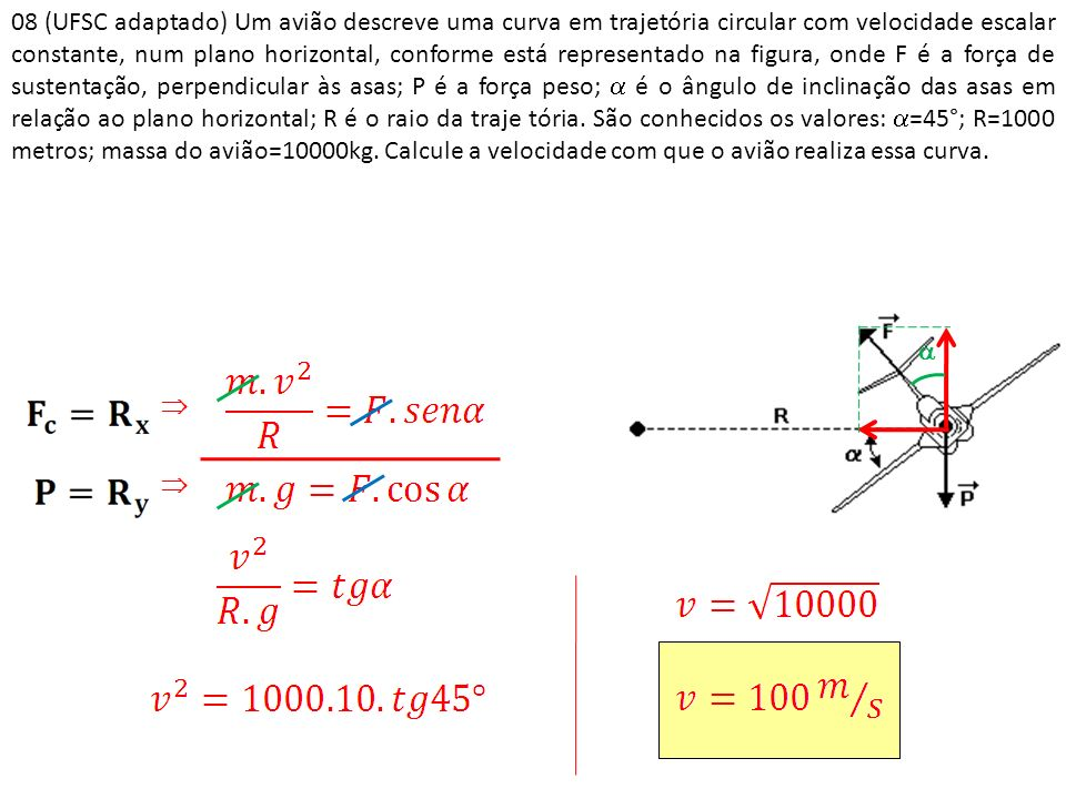 08 (UFSC adaptado) Um avião descreve uma curva em trajetória circular com velocidade escalar constante, num plano horizontal, conforme está representa