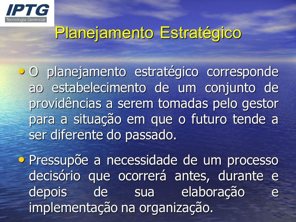 Planejamento Estratégico O planejamento estratégico corresponde ao estabelecimento de um conjunto de providências a serem tomadas pelo gestor para a s