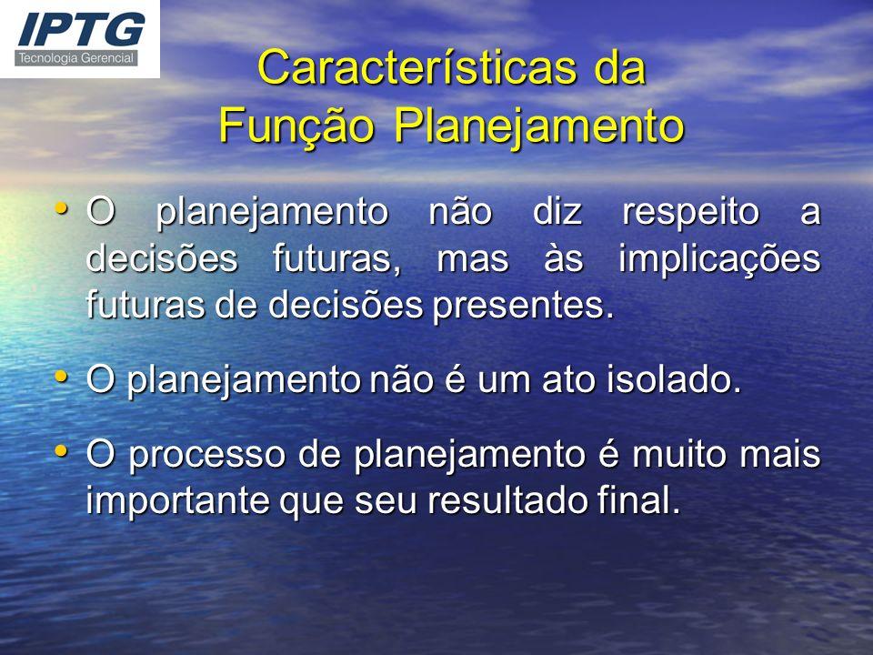 Características da Função Planejamento O planejamento não diz respeito a decisões futuras, mas às implicações futuras de decisões presentes. O planeja