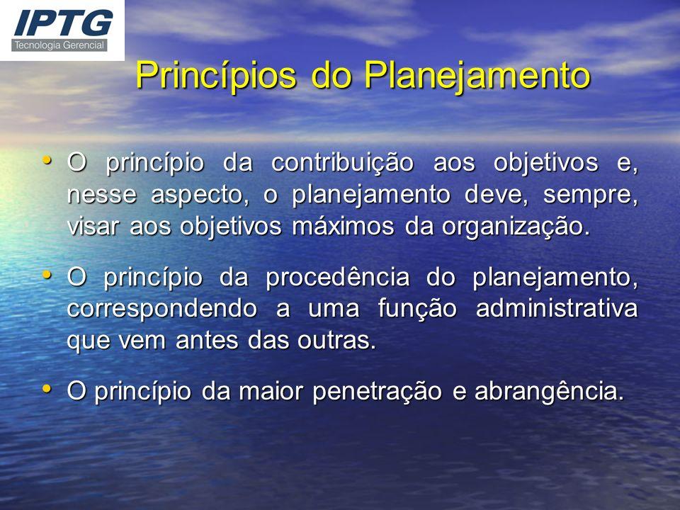 Princípios do Planejamento O princípio da contribuição aos objetivos e, nesse aspecto, o planejamento deve, sempre, visar aos objetivos máximos da org