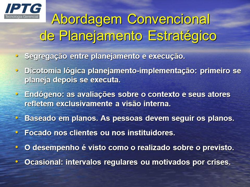 Abordagem Convencional de Planejamento Estratégico Abordagem Convencional de Planejamento Estratégico Segregação entre planejamento e execução. Segreg