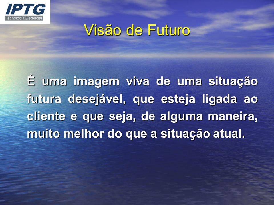 Visão de Futuro É uma imagem viva de uma situação futura desejável, que esteja ligada ao cliente e que seja, de alguma maneira, muito melhor do que a