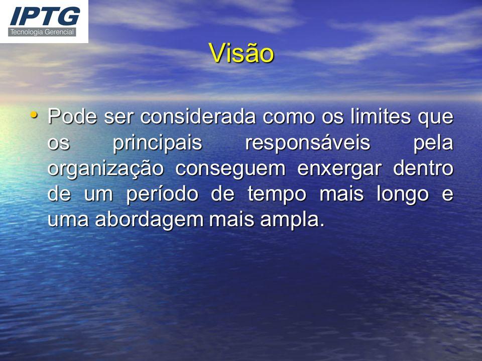 Visão Pode ser considerada como os limites que os principais responsáveis pela organização conseguem enxergar dentro de um período de tempo mais longo
