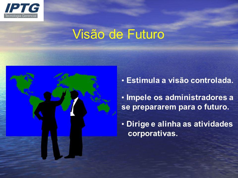 Visão de Futuro Estimula a visão controlada. Impele os administradores a se prepararem para o futuro. Dirige e alinha as atividades corporativas.
