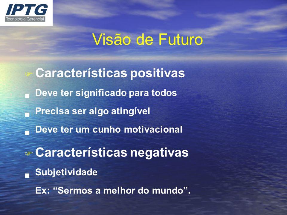 Visão de Futuro F Características positivas n Deve ter significado para todos n Precisa ser algo atingível n Deve ter um cunho motivacional F Caracter