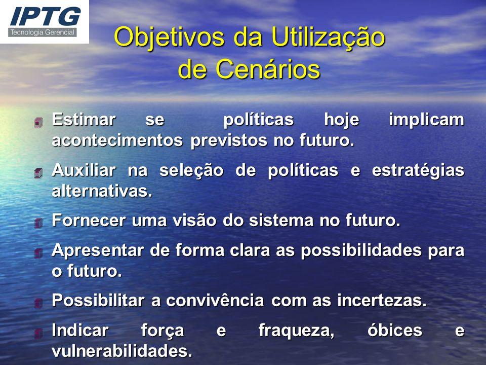 Objetivos da Utilização de Cenários 4 Estimar se políticas hoje implicam acontecimentos previstos no futuro. 4 Auxiliar na seleção de políticas e estr