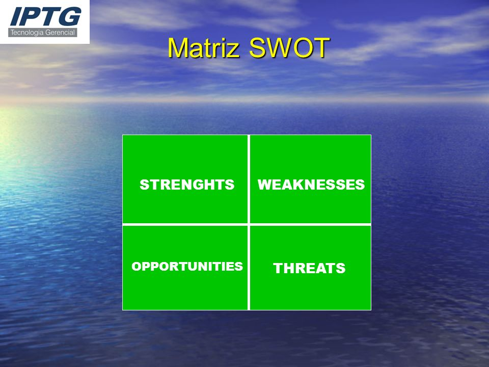 Matriz SWOT STRENGHTSWEAKNESSES OPPORTUNITIES THREATS
