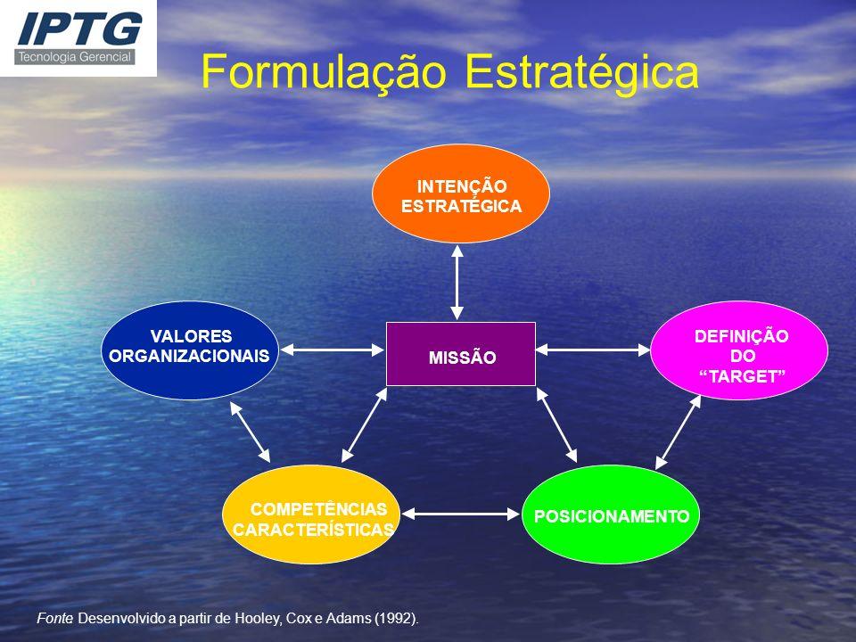 Formulação Estratégica INTENÇÃO ESTRATÉGICA MISSÃO VALORES ORGANIZACIONAIS COMPETÊNCIAS CARACTERÍSTICAS POSICIONAMENTO DEFINIÇÃO DO TARGET Fonte: Dese