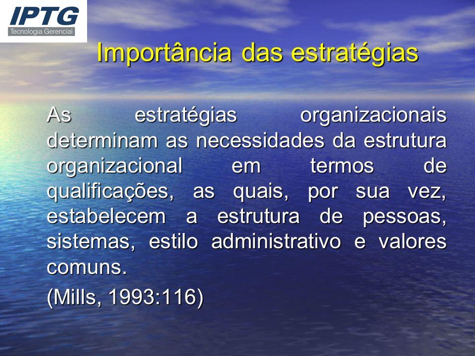 Importância das estratégias As estratégias organizacionais determinam as necessidades da estrutura organizacional em termos de qualificações, as quais