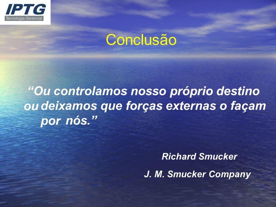 Conclusão Ou controlamos nosso próprio destino ou deixamos que forças externas o façam por nós. Richard Smucker J. M. Smucker Company
