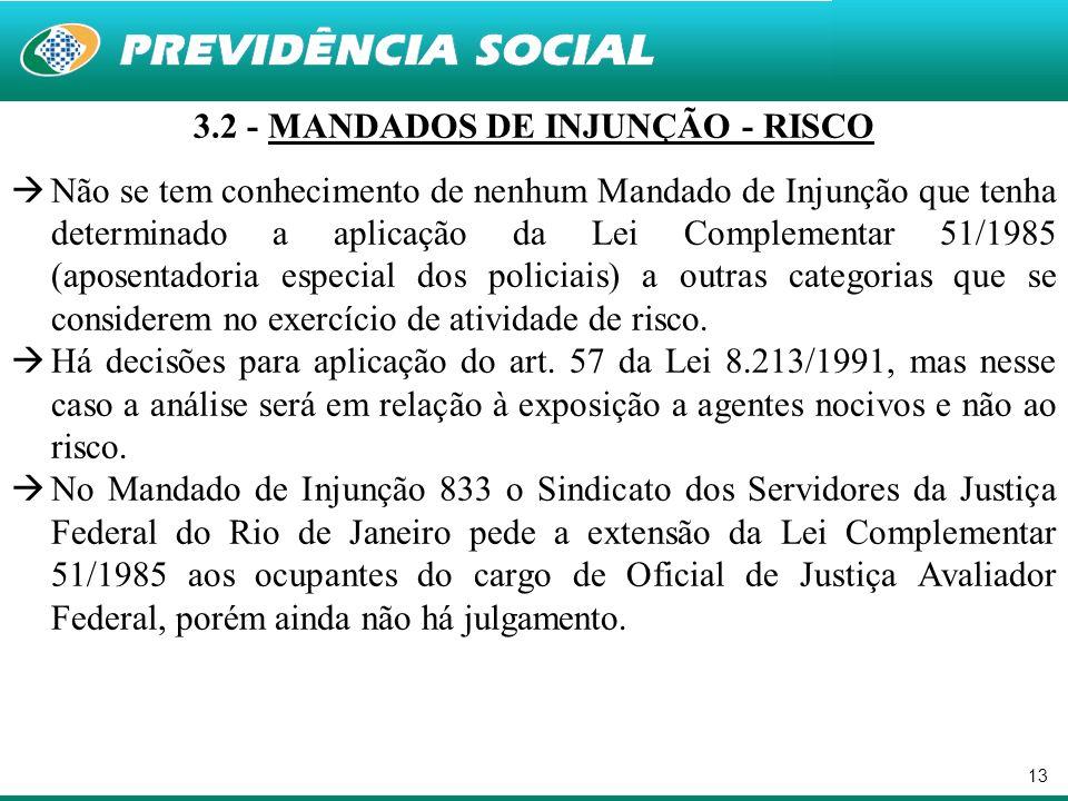 13 3.2 - MANDADOS DE INJUNÇÃO - RISCO Não se tem conhecimento de nenhum Mandado de Injunção que tenha determinado a aplicação da Lei Complementar 51/1