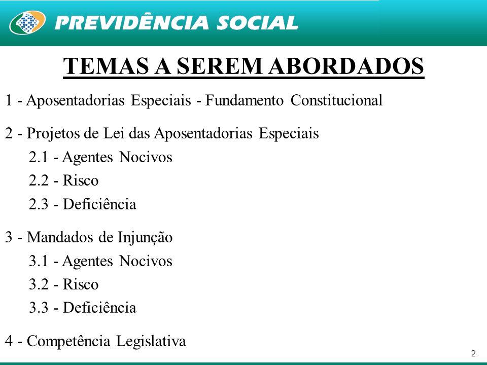 2 TEMAS A SEREM ABORDADOS 1 - Aposentadorias Especiais - Fundamento Constitucional 2 - Projetos de Lei das Aposentadorias Especiais 2.1 - Agentes Noci
