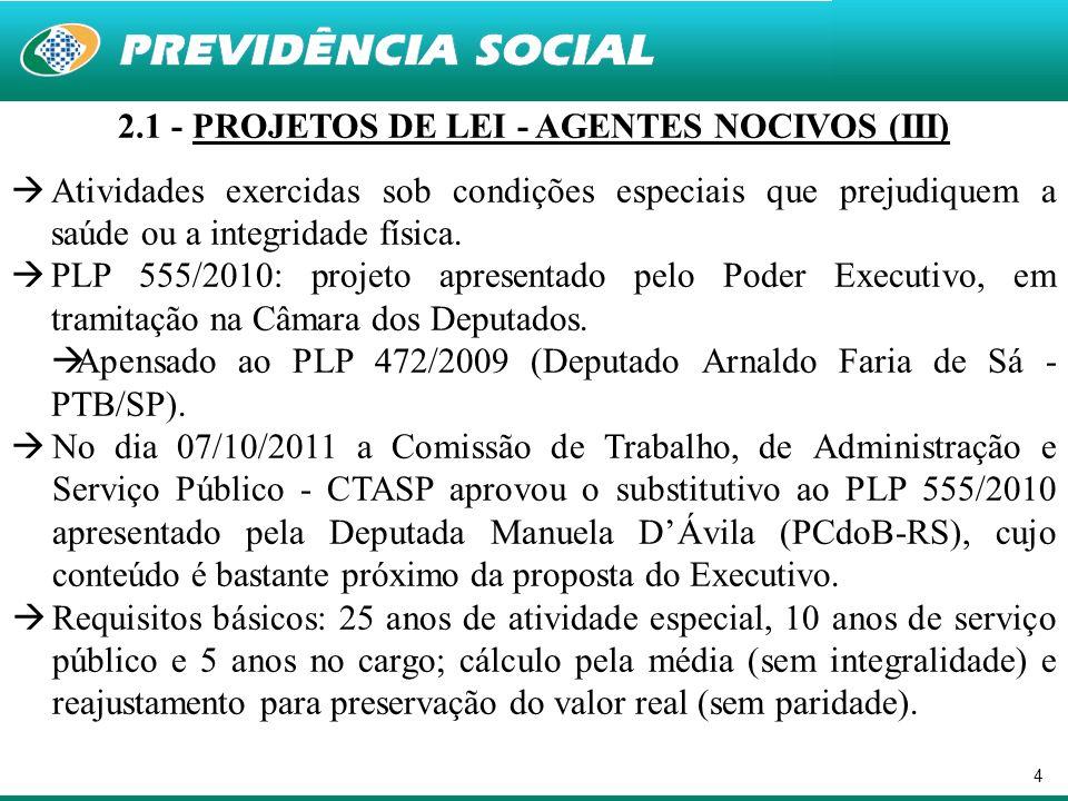 4 2.1 - PROJETOS DE LEI - AGENTES NOCIVOS (III) Atividades exercidas sob condições especiais que prejudiquem a saúde ou a integridade física. PLP 555/