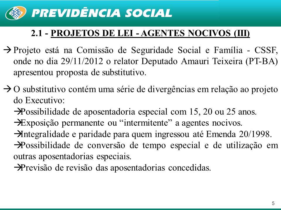 5 2.1 - PROJETOS DE LEI - AGENTES NOCIVOS (III) Projeto está na Comissão de Seguridade Social e Família - CSSF, onde no dia 29/11/2012 o relator Deput
