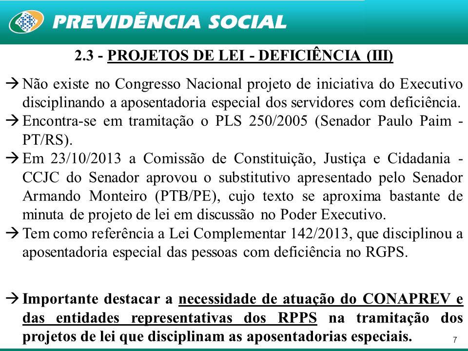 7 2.3 - PROJETOS DE LEI - DEFICIÊNCIA (III) Não existe no Congresso Nacional projeto de iniciativa do Executivo disciplinando a aposentadoria especial