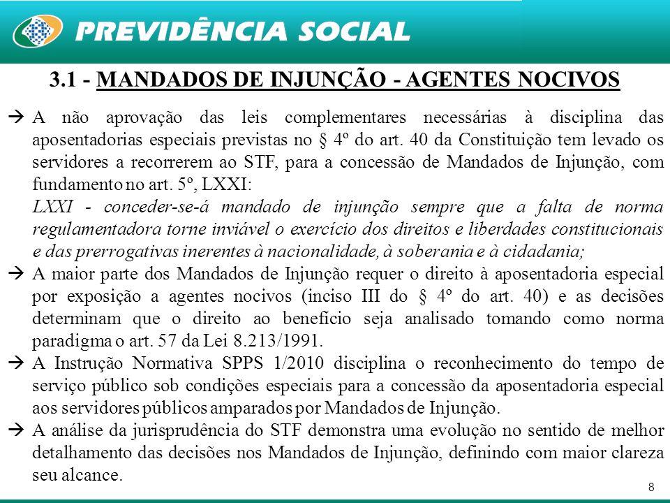 8 3.1 - MANDADOS DE INJUNÇÃO - AGENTES NOCIVOS A não aprovação das leis complementares necessárias à disciplina das aposentadorias especiais previstas