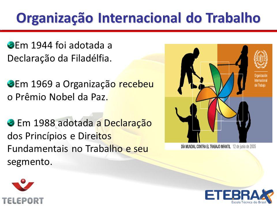 Organização Internacional do Trabalho Em 1944 foi adotada a Declaração da Filadélfia. Em 1969 a Organização recebeu o Prêmio Nobel da Paz. Em 1988 ado