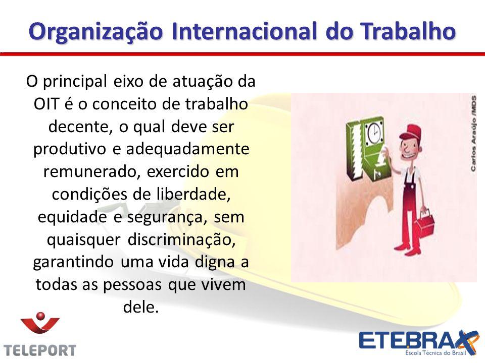 Organização Internacional do Trabalho O principal eixo de atuação da OIT é o conceito de trabalho decente, o qual deve ser produtivo e adequadamente r
