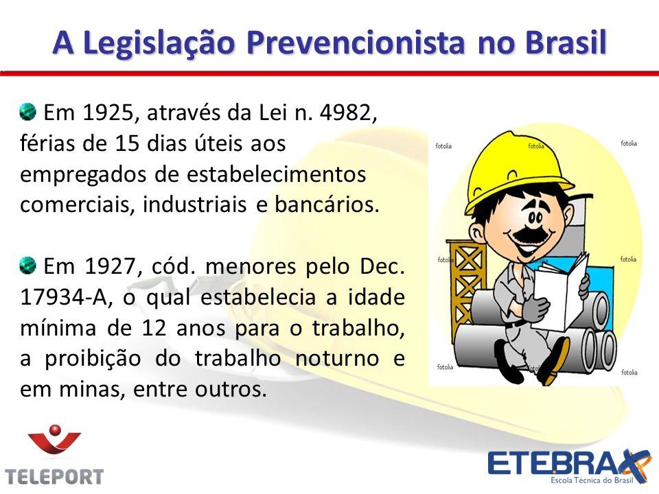 A Legislação Prevencionista no Brasil Em 1925, através da Lei n. 4982, férias de 15 dias úteis aos empregados de estabelecimentos comerciais, industri