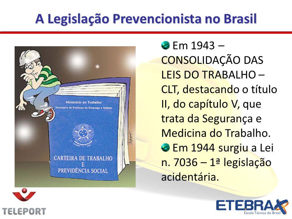 A Legislação Prevencionista no Brasil Em 1943 – CONSOLIDAÇÃO DAS LEIS DO TRABALHO – CLT, destacando o título II, do capítulo V, que trata da Segurança