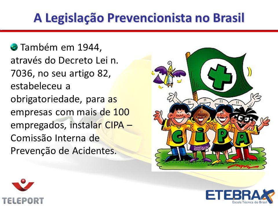 A Legislação Prevencionista no Brasil Também em 1944, através do Decreto Lei n. 7036, no seu artigo 82, estabeleceu a obrigatoriedade, para as empresa