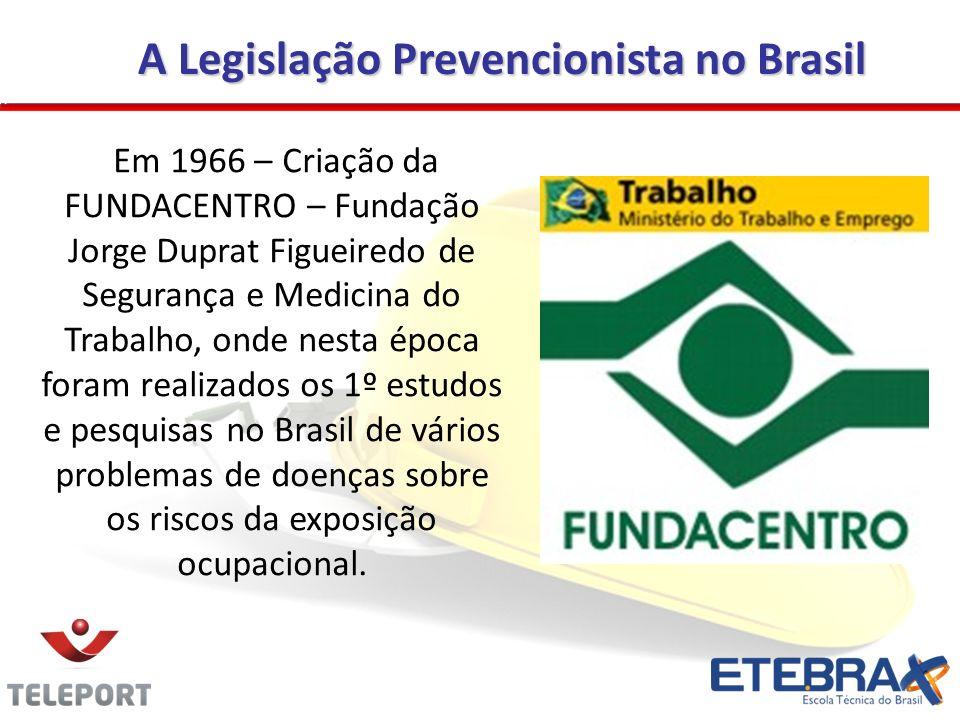 A Legislação Prevencionista no Brasil Em 1966 – Criação da FUNDACENTRO – Fundação Jorge Duprat Figueiredo de Segurança e Medicina do Trabalho, onde ne