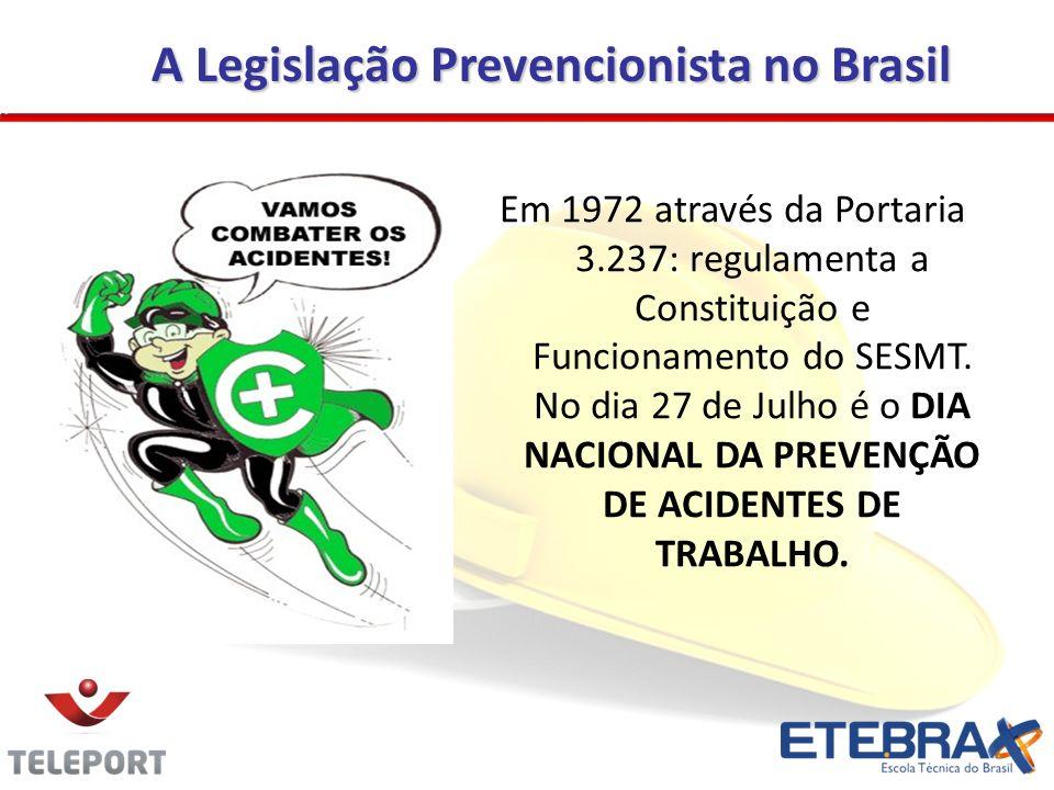A Legislação Prevencionista no Brasil Em 1972 através da Portaria 3.237: regulamenta a Constituição e Funcionamento do SESMT. No dia 27 de Julho é o D