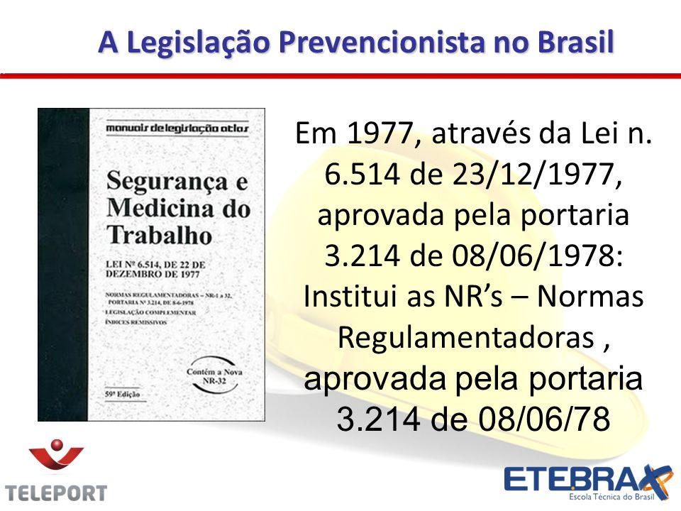 A Legislação Prevencionista no Brasil Em 1977, através da Lei n. 6.514 de 23/12/1977, aprovada pela portaria 3.214 de 08/06/1978: Institui as NRs – No
