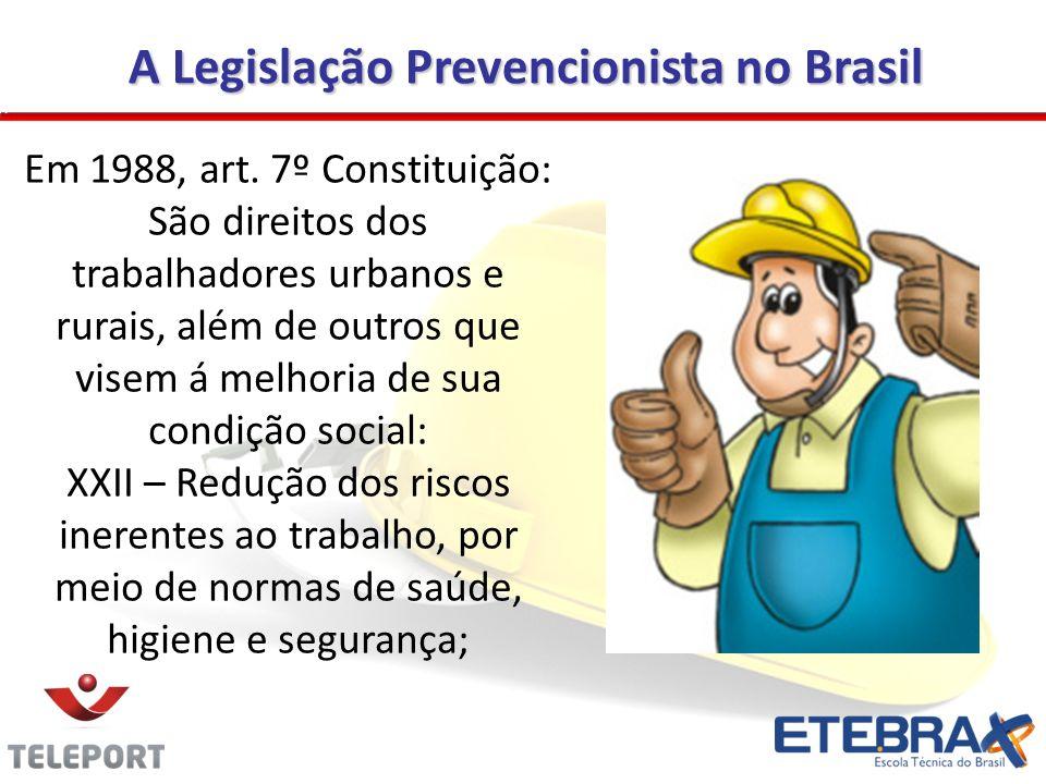 A Legislação Prevencionista no Brasil A Legislação Prevencionista no Brasil Em 1988, art. 7º Constituição: São direitos dos trabalhadores urbanos e ru