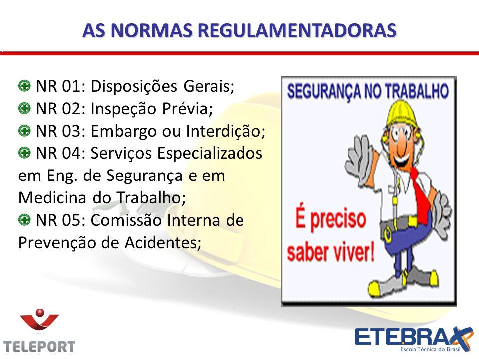 AS NORMAS REGULAMENTADORAS NR 01: Disposições Gerais; NR 02: Inspeção Prévia; NR 03: Embargo ou Interdição; NR 04: Serviços Especializados em Eng. de