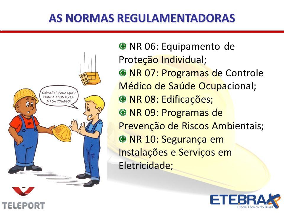 AS NORMAS REGULAMENTADORAS NR 06: Equipamento de Proteção Individual; NR 07: Programas de Controle Médico de Saúde Ocupacional; NR 08: Edificações; NR