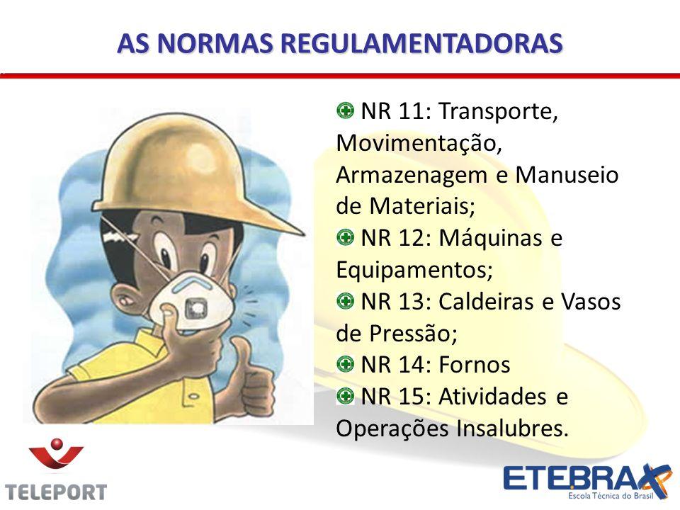 AS NORMAS REGULAMENTADORAS NR 11: Transporte, Movimentação, Armazenagem e Manuseio de Materiais; NR 12: Máquinas e Equipamentos; NR 13: Caldeiras e Va