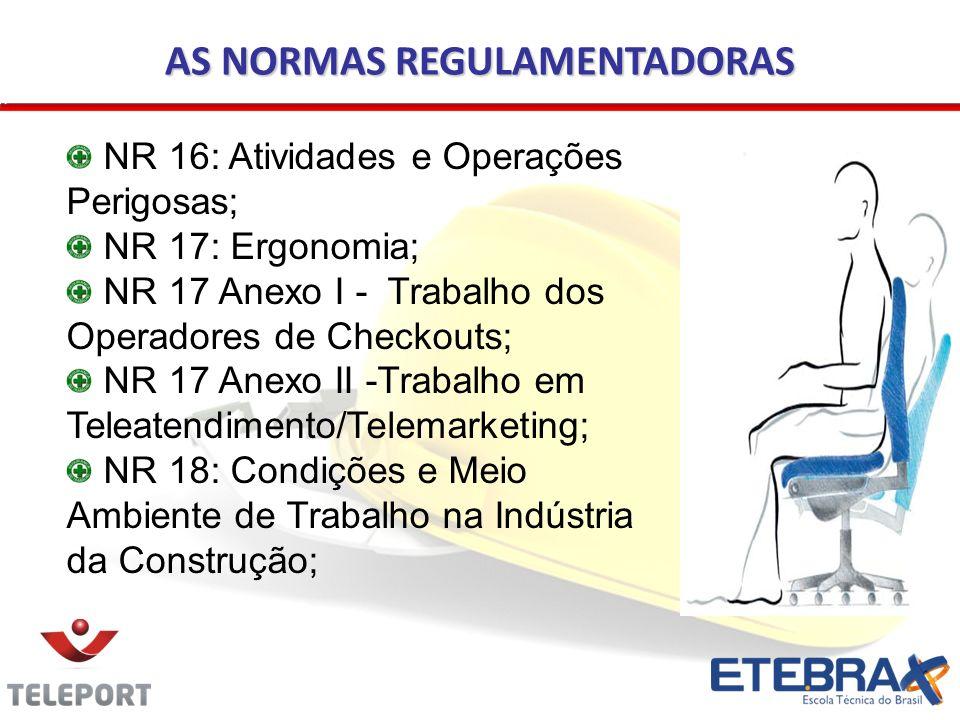 AS NORMAS REGULAMENTADORAS NR 16: Atividades e Operações Perigosas; NR 17: Ergonomia; NR 17 Anexo I - Trabalho dos Operadores de Checkouts; NR 17 Anex
