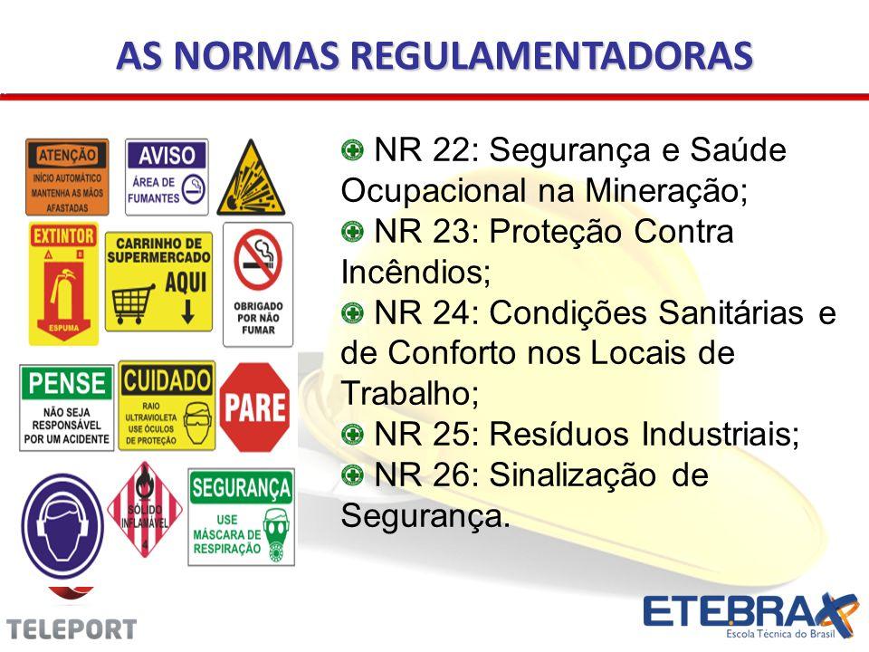 AS NORMAS REGULAMENTADORAS NR 22: Segurança e Saúde Ocupacional na Mineração; NR 23: Proteção Contra Incêndios; NR 24: Condições Sanitárias e de Confo