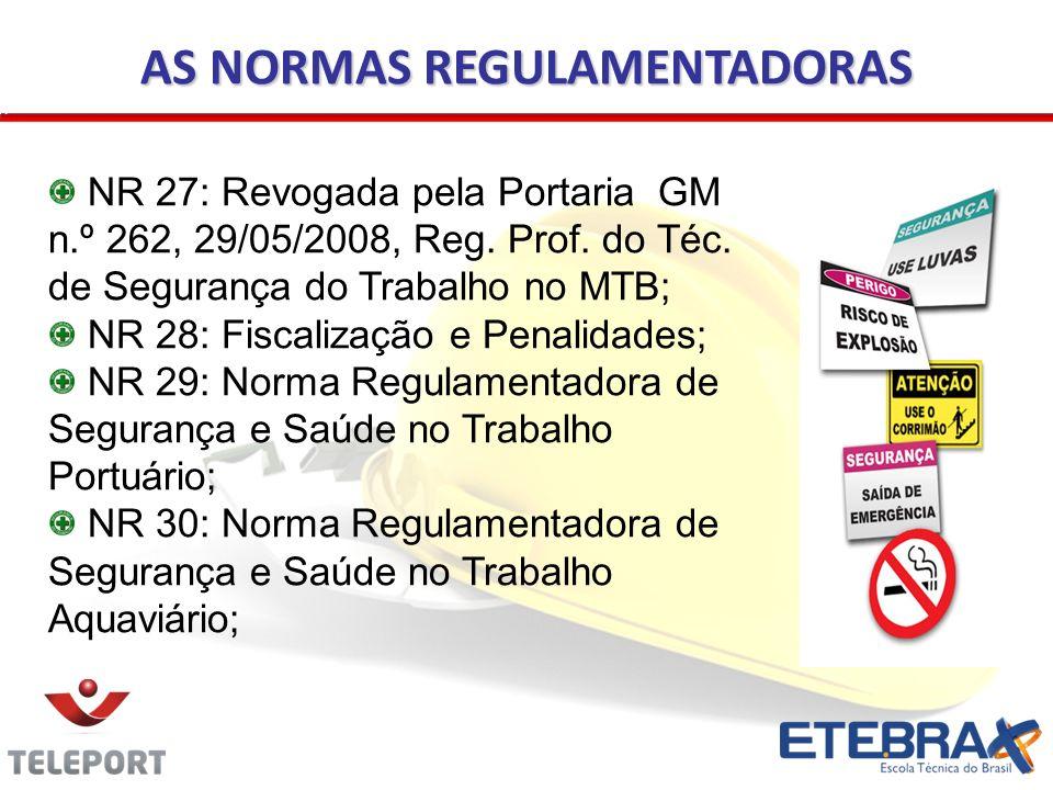 AS NORMAS REGULAMENTADORAS NR 27: Revogada pela Portaria GM n.º 262, 29/05/2008, Reg. Prof. do Téc. de Segurança do Trabalho no MTB; NR 28: Fiscalizaç