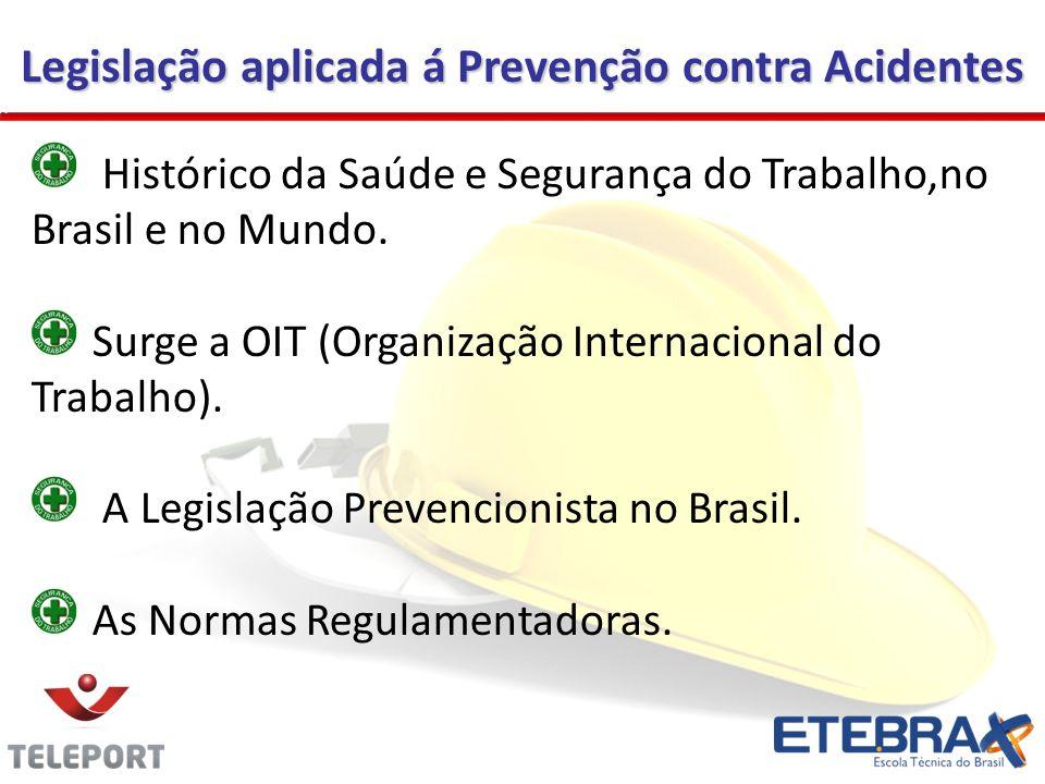 Legislação aplicada á Prevenção contra Acidentes Histórico da Saúde e Segurança do Trabalho,no Brasil e no Mundo. Surge a OIT (Organização Internacion